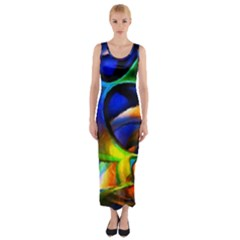 Light Texture Abstract Background Fitted Maxi Dress