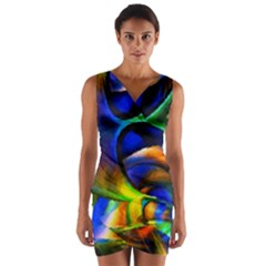 Light Texture Abstract Background Wrap Front Bodycon Dress