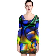 Light Texture Abstract Background Long Sleeve Velvet Bodycon Dress