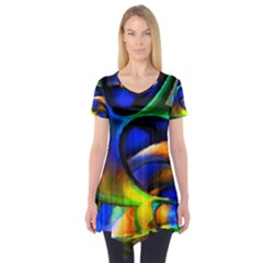 Light Texture Abstract Background Short Sleeve Tunic