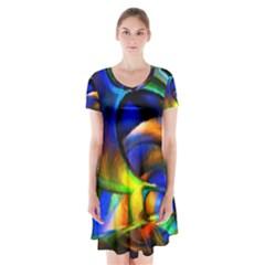 Light Texture Abstract Background Short Sleeve V Neck Flare Dress