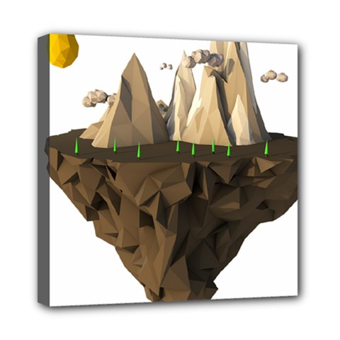 Low Poly Floating Island 3d Render Mini Canvas 8  X 8