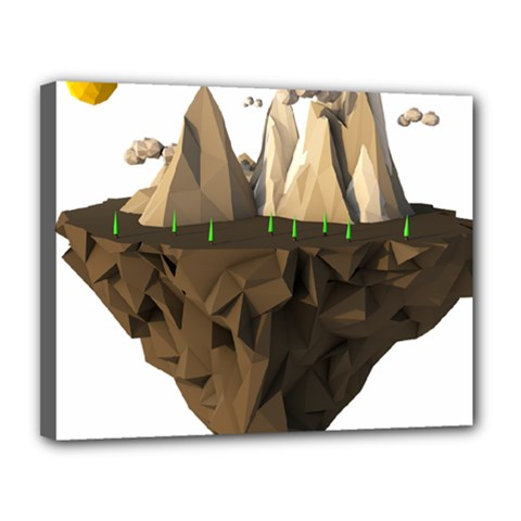 Low Poly Floating Island 3d Render Canvas 14  X 11