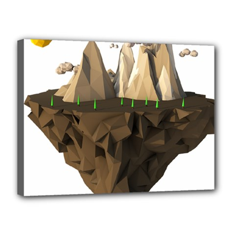 Low Poly Floating Island 3d Render Canvas 16  X 12