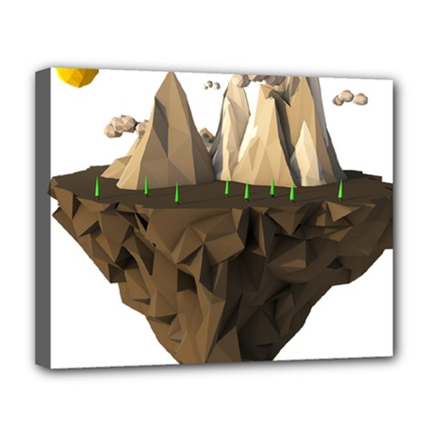 Low Poly Floating Island 3d Render Deluxe Canvas 20  X 16