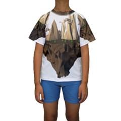 Low Poly Floating Island 3d Render Kids  Short Sleeve Swimwear