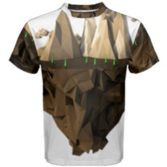 Low Poly Floating Island 3d Render Men s Cotton Tee