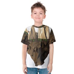 Low Poly Floating Island 3d Render Kids  Cotton Tee