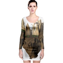 Low Poly Floating Island 3d Render Long Sleeve Bodycon Dress