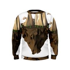 Low Poly Floating Island 3d Render Kids  Sweatshirt