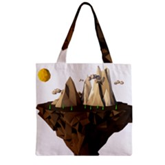 Low Poly Floating Island 3d Render Zipper Grocery Tote Bag