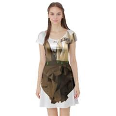 Low Poly Floating Island 3d Render Short Sleeve Skater Dress