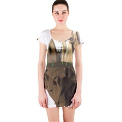 Low Poly Floating Island 3d Render Short Sleeve Bodycon Dress