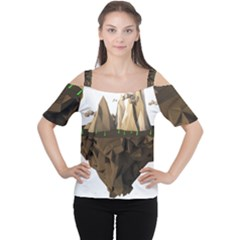 Low Poly Floating Island 3d Render Women s Cutout Shoulder Tee