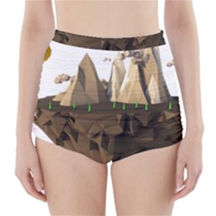 Low Poly Floating Island 3d Render High-Waisted Bikini Bottoms