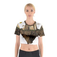 Low Poly Floating Island 3d Render Cotton Crop Top