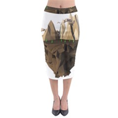 Low Poly Floating Island 3d Render Midi Pencil Skirt