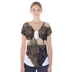 Low Poly Floating Island 3d Render Short Sleeve Front Detail Top