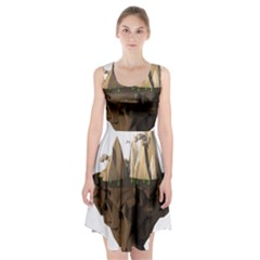 Low Poly Floating Island 3d Render Racerback Midi Dress