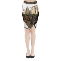 Low Poly Floating Island 3d Render Midi Wrap Pencil Skirt