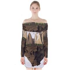 Low Poly Floating Island 3d Render Long Sleeve Off Shoulder Dress