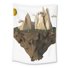 Low Poly Floating Island 3d Render Medium Tapestry