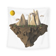 Low Poly Floating Island 3d Render Square Tapestry (small)