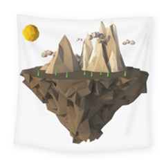 Low Poly Floating Island 3d Render Square Tapestry (large)