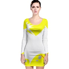 Mail Holyday Vacation Frame Long Sleeve Bodycon Dress