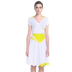 Mail Holyday Vacation Frame Short Sleeve Front Wrap Dress
