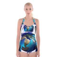 Migration Of The Peoples Escape Boyleg Halter Swimsuit