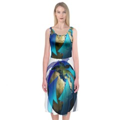 Migration Of The Peoples Escape Midi Sleeveless Dress