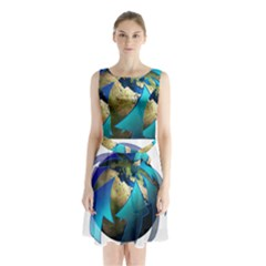 Migration Of The Peoples Escape Sleeveless Chiffon Waist Tie Dress