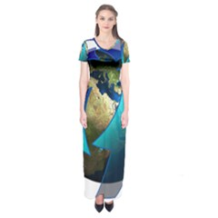 Migration Of The Peoples Escape Short Sleeve Maxi Dress