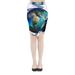 Migration Of The Peoples Escape Midi Wrap Pencil Skirt