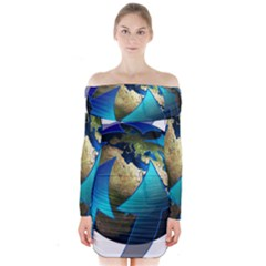 Migration Of The Peoples Escape Long Sleeve Off Shoulder Dress