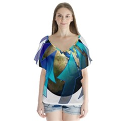 Migration Of The Peoples Escape Flutter Sleeve Top