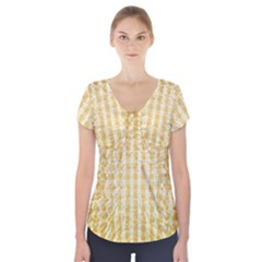 Pattern Abstract Background Short Sleeve Front Detail Top