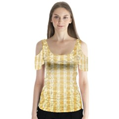 Pattern Abstract Background Butterfly Sleeve Cutout Tee