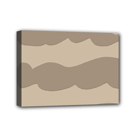 Pattern Wave Beige Brown Mini Canvas 7  X 5