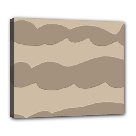 Pattern Wave Beige Brown Deluxe Canvas 24  X 20
