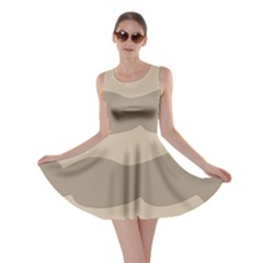 Pattern Wave Beige Brown Skater Dress