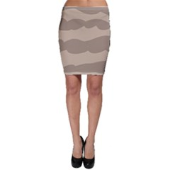 Pattern Wave Beige Brown Bodycon Skirt