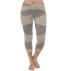 Pattern Wave Beige Brown Capri Winter Leggings