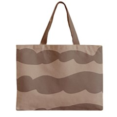 Pattern Wave Beige Brown Zipper Mini Tote Bag