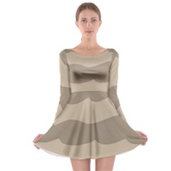 Pattern Wave Beige Brown Long Sleeve Skater Dress