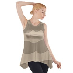 Pattern Wave Beige Brown Side Drop Tank Tunic