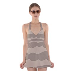 Pattern Wave Beige Brown Halter Swimsuit Dress