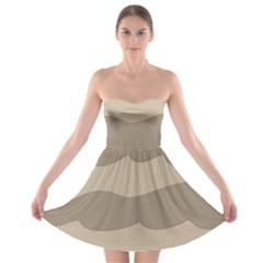 Pattern Wave Beige Brown Strapless Bra Top Dress