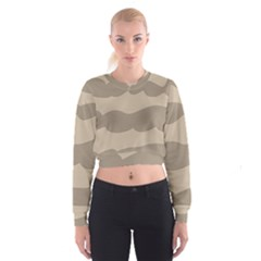 Pattern Wave Beige Brown Women s Cropped Sweatshirt